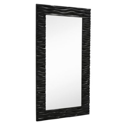 Majestic Mirror Large Stylish Rectangular Glossy White Lacquer Wavy Framed Glass Wall Mirror