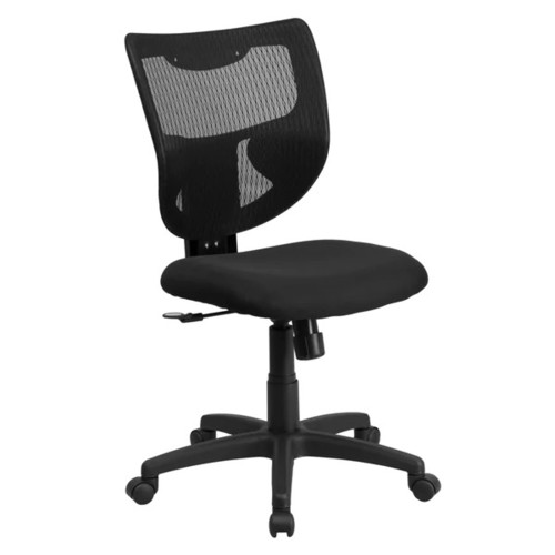 Lutea Black Mesh Armless Designer Back Swivel Office Chair with Padded Fabric Seat