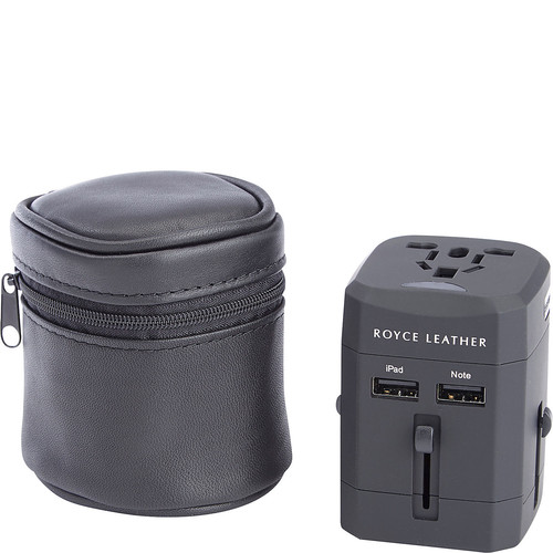 Royce International Travel Adapter with Genuine Black Leather Carrying Case