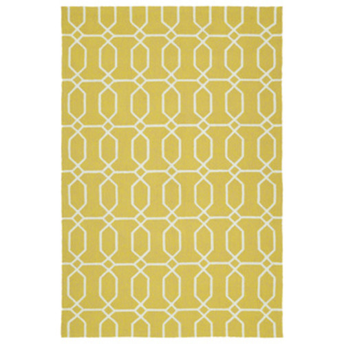 Indoor/Outdoor Laguna Lime and Ivory Geo Flat-Weave Rug - 9' x 12'