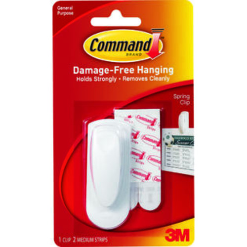 3M Command 17005 Adhesive Medium Spring Clip, Plastic, White