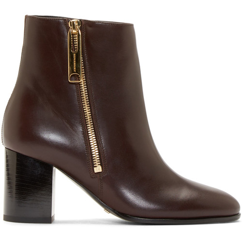 BURBERRY LONDON Burgundy Leather Ankle Boots