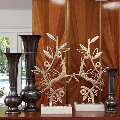 Red Barrel Studio Trumpet Ceramic Black Vase; Medium
