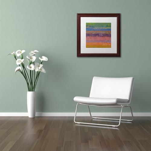 Michelle Calkins 'Pink Line' Matted Framed Art [option : 11x11]