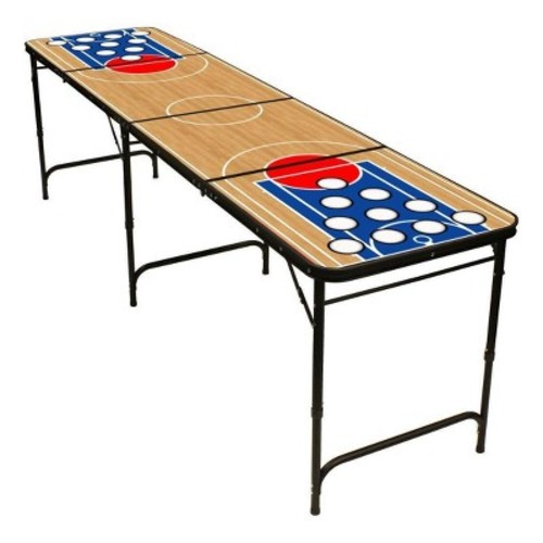 Red Cup Pong 8' Folding Beer Pong Table with Bottle Opener/Ball Rack and 6 Pong Balls - Basketball Design