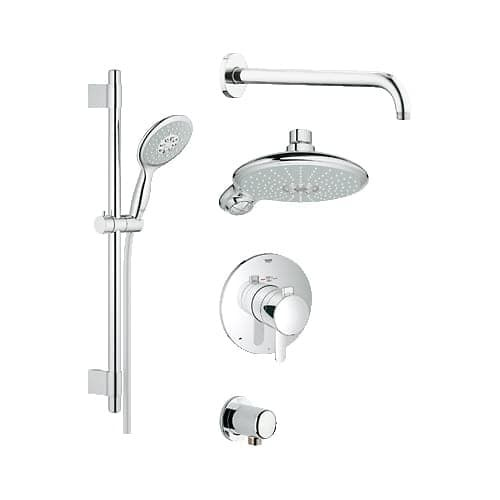 Grohe 35 052 GrohFlex Thermostatic Shower System - Includes Trim, Shower Head, Hand Shower, Shower Arm, Hose and Wall Supply