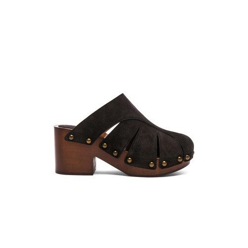 Chloe Suede Quinty Clogs in Charcoal Black