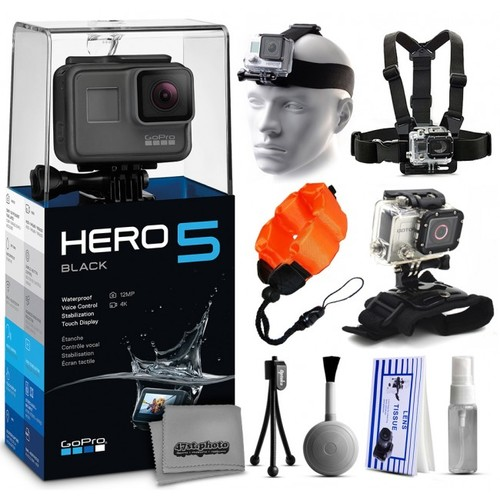 GoPro HERO5 Black + Chest Strap, Head Strap, Wrist Glove, Cleaning Kit