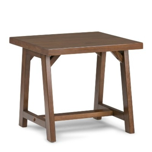 Sawhorse End Side Table Medium Saddle Brown - Simpli Home