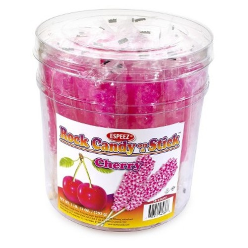 Hot Pink Cherry-Flavored Rock Candy Sticks: 36 count