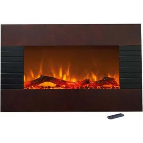 The Northwest Company NORTHWEST 36 INCH MAHOGANY FIREPLACE w/ WALL MOUNT & FLOOR STAND