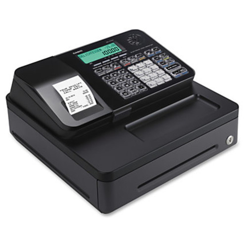 Casio PCR-T285 Thermal Print Compact Cash Register - 2000 PLUs - 8 Clerks - 24 Departments - Thermal Printing