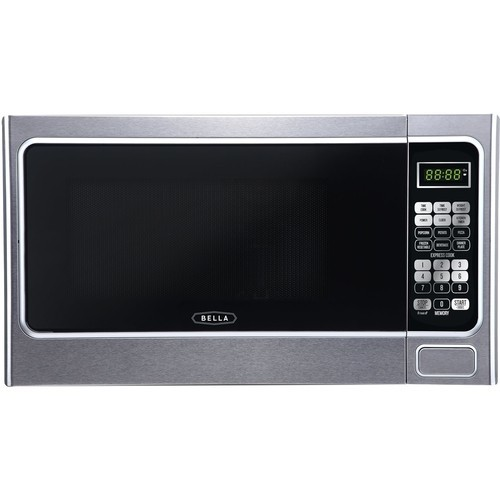 Bella - 1.1 Cu. Ft. Mid-Size Microwave - Platinum