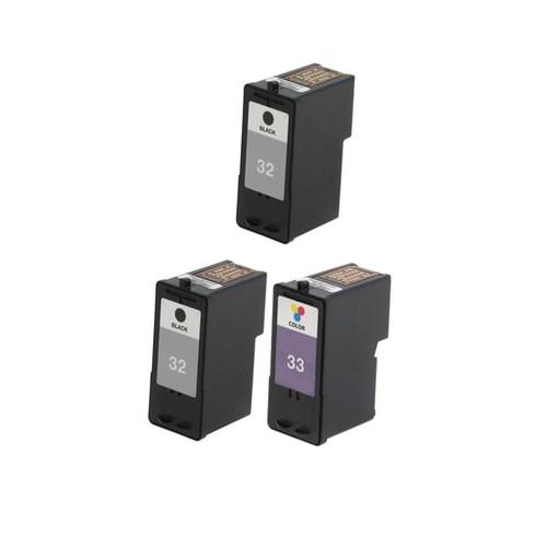 3 Pack Lexmark 18C0032 #32 18C0033 #33 Compatible Ink Cartridge For Lexmark Z810 Z812 ( Pack of 3 )