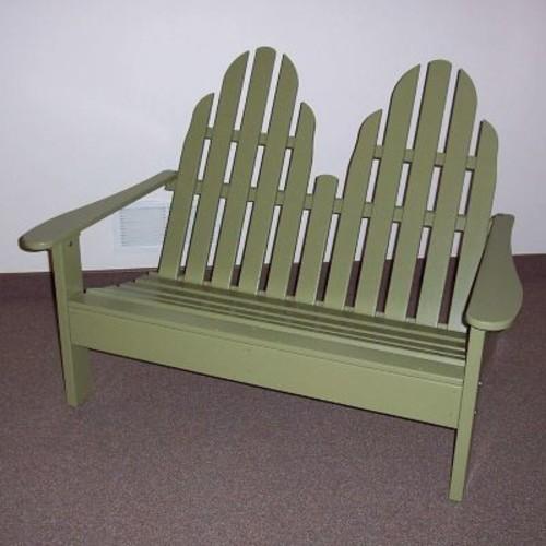 Prairie Leisure Design Adirondack Settee Wood Garden Bench; Sage