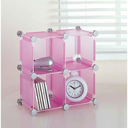 Organize It All Desk Organizers Small Pink Storage Cube