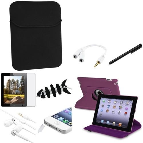 INSTEN 10in1 For New iPad 3 Purple 360 Swivel Leather Case+Anti-Glare Screen Protector (Supports Auto Sleep/Wake)