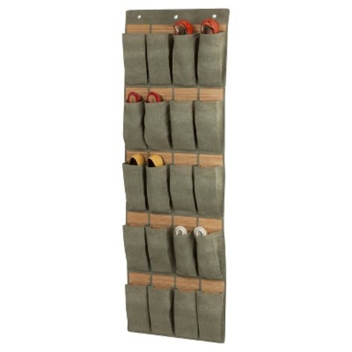 Honey-Can-Do Bamboo 20-Pocket Over-the-Door Shoe Organizer - Grey