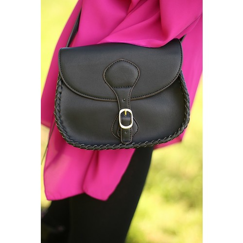 Buckle Up Crossbody Bag in Black
