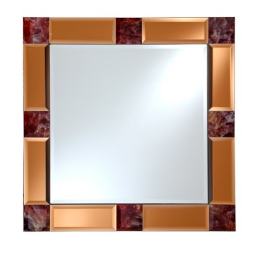 Square Beveled Frameless Wall Mirror with Mirrored Tinted Beveled Border and Marble Accents Copper 24
