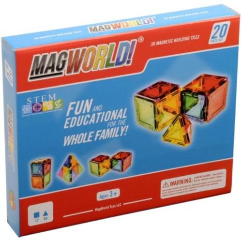MagWorld 3D Magnetic Building Tiles 20 Pieces - Rainbow