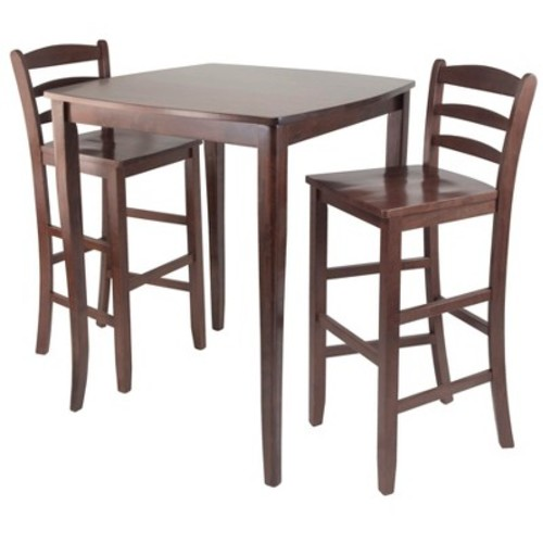 3 Piece Inglewood Set High Table with Ladder Back Bar Stools Wood/Walnut - Winsome