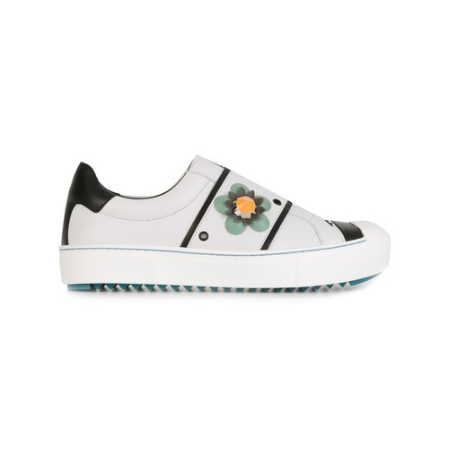 FENDI Flower Appliqué Slip-On Sneakers