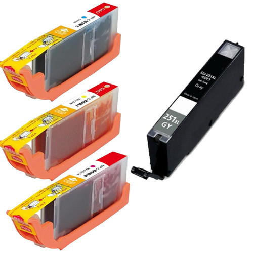 Compatible Canon CLI-251XL Cyan, Yellow, Magenta, Grey High Yield Ink Cartridges (Pack of 4)