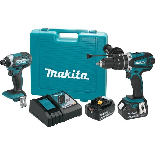 Makita 18-Volt LXT Lithium-Ion Cordless Combo Kit (2-Piece) Hammer Drill/Impact Driver w/ (2) Batteries (4.0Ah), Charger, Case