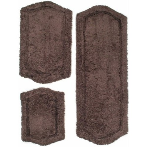 Chesapeake Merchandising 22 in. x 60 in., 21 in. x 34 in. and 17 in. x 24 in. 3-Piece Paradise Memory Foam Bath Rug Set in Chocolate