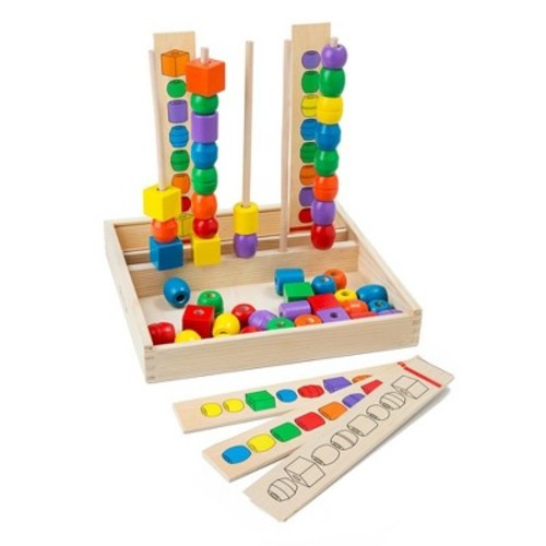 Melissa & Doug Bead Sequencing Set With 46 Wooden Beads and 5 Double-Sided Pattern Boards
