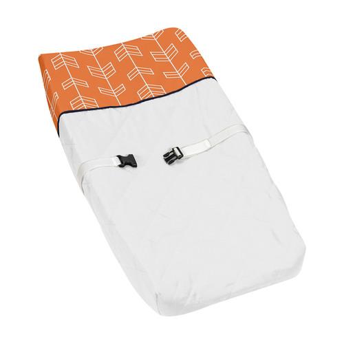 Sweet Jojo Designs Orange and Navy Blue Arrow Changing Pad Cover