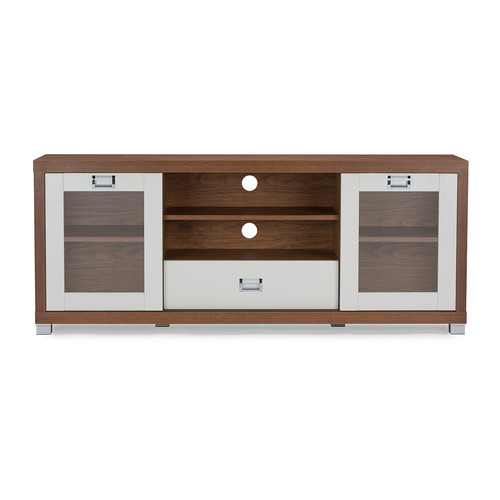 Baxton Studio Matlock Modern Two-tone Walnut and White TV Stand with Glass Doors