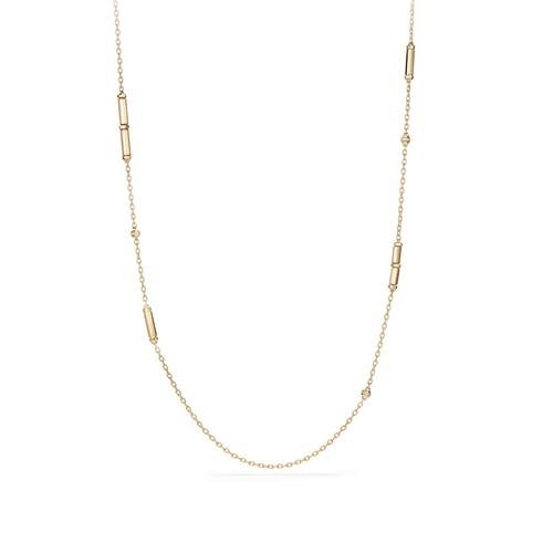 Pave Diamonds & 18K Yellow Gold Barrels Long Station Necklace