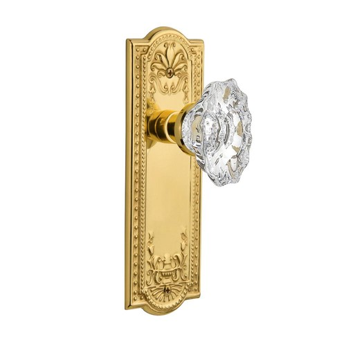 Nostalgic Warehouse Meadows Plate 2-3/4 in. Backset Unlacquered Brass Privacy Bed/Bath Chateau Door Knob