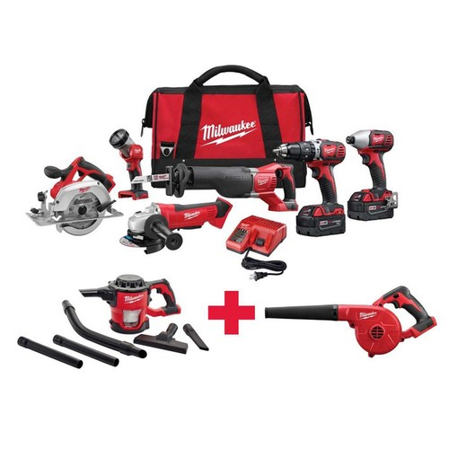 Milwaukee M18 18-Volt Lithium-Ion Cordless Combo Kit (6-Tool) with Free M18 vacuum and M18 Blower
