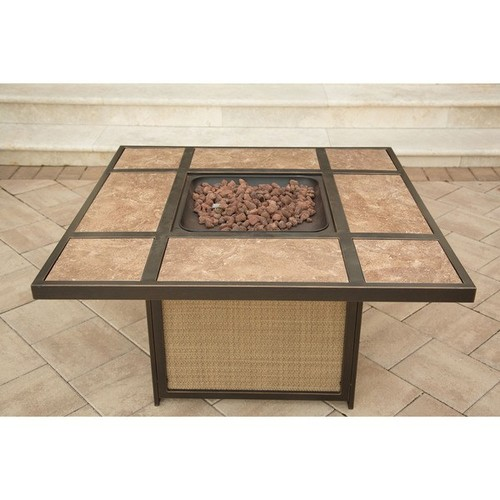Hanover Traditions 2-Piece Tile Top Propane Fire Pit Patio Lounge Set - Natural Oak