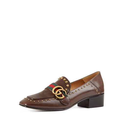 GUCCI Peyton Studded Square-Toe Loafer, Cuir