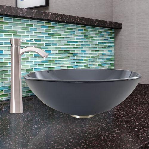 VIGO Glass Vessel Sink in Sheer Black Frost with Otis Faucet Set in Brushed Nickel