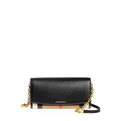 BURBERRY House Check Henley Leather Chain Wallet