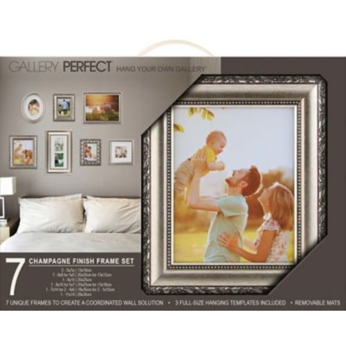 NielsenBainbridge Gallery Solutions 7 Piece Picture Frame Set; Champagne
