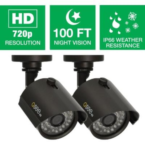 Q-SEE Wired 720p Indoor/Outdoor HD Bullet Camera with 100 ft. Night Vision (2-Pack)