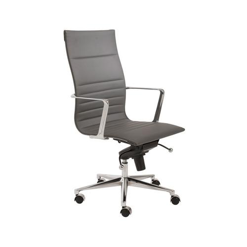 Kyler Grey Leatherette/ Chrome High Back Office Chair