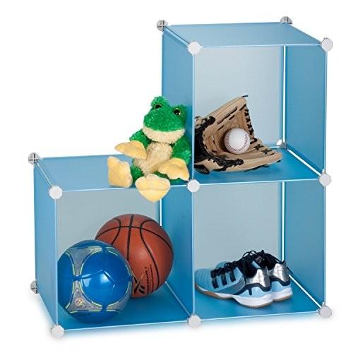 Honey-Can-Do SFT-01466 3-Cube 14-Inch Storage Unit, Sturdy Storage Solution, Blue