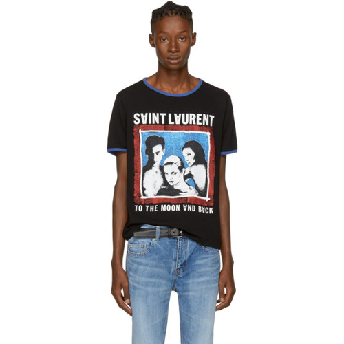 SAINT LAURENT Black 'To The Moon And Back' T-Shirt