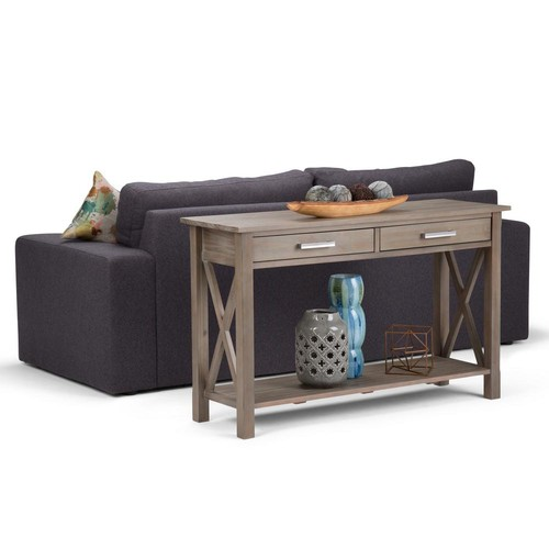 Simpli Home Kitchener Distressed Grey Storage Console Table