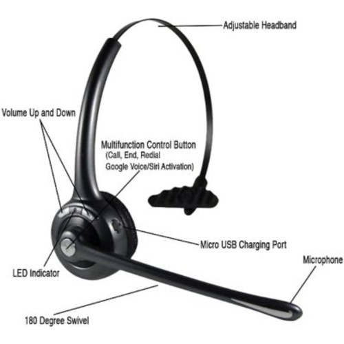 Delton Over-the-Head Noise Canceling Wireless Bluetooth Headset Hands Free With Mic.