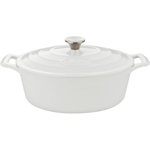 La Cuisine 6.75 Qt. Cast Iron Oval Casserole with White Enamel