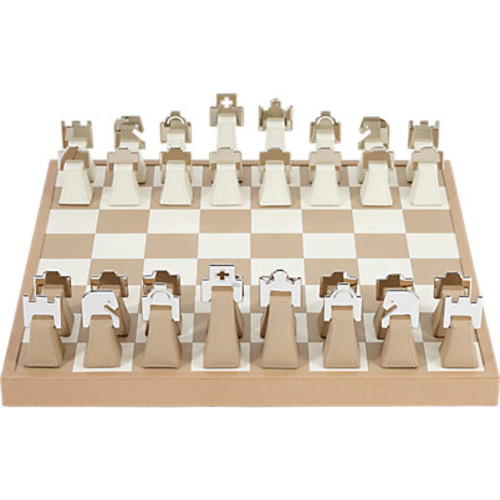 Barneys New York Leather & Chrome Chess Set