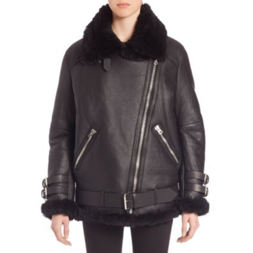 ACNE STUDIOS Oversized Shearling Moto Jacket